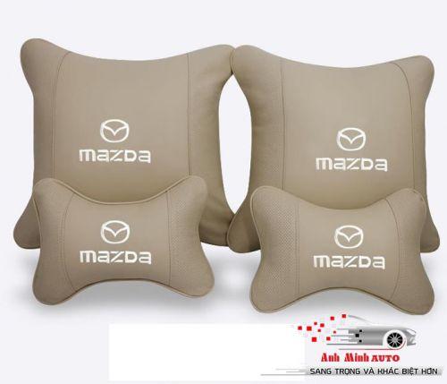 Gối tự bộ 4 cái da cao cấp logo MAZDA